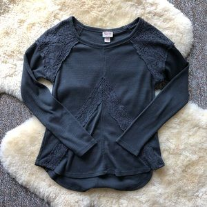 Mossimo Knit Crochet Thermal Long Sleeve